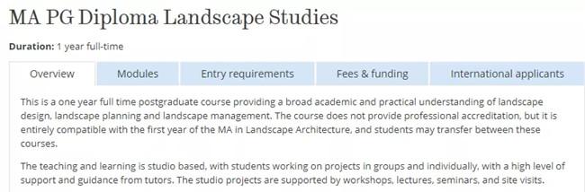 景观专业01   谢菲尔德大学申请与作品集要求更新