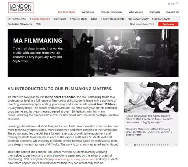 电影专业01   伦敦电影学院申请与作品集要求更新